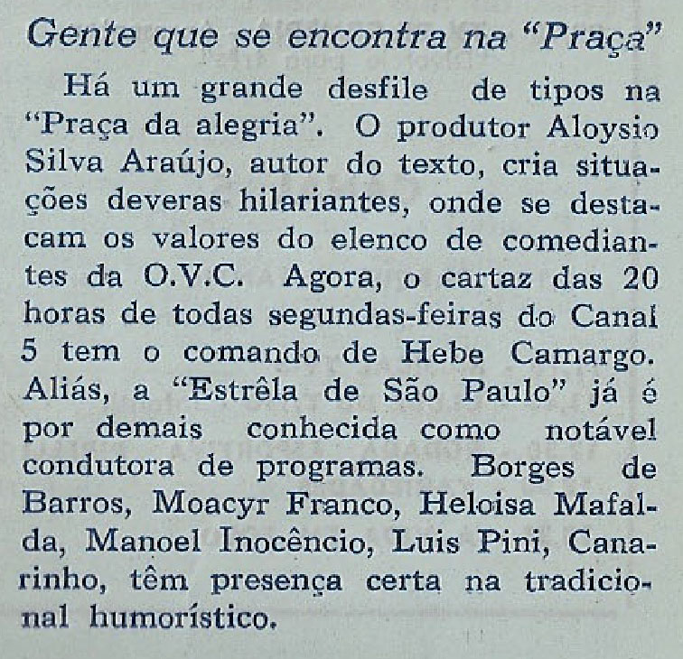 1960 Aloysio substitui Nóbrega na praça