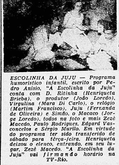 Escolinha da Juju - Última Hora - 1958